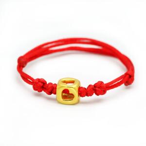 先恩尼黄金手链 3D硬金DIY手链黄金吊坠 足金红绳情侣手链 心心相通 XZJB021903
