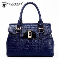 新款女包新款欧美时尚包包鳄鱼纹手提单肩斜挎包中年妈妈女包 蓝色