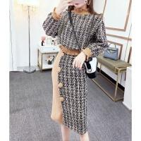 时尚两件套装女2018秋冬季韩版气质长袖宽松格子卫衣+高腰半身裙