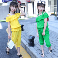 女童夏装套装大童装夏季儿童雪纺短裤两件套