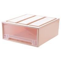 {夏季贱卖}抽屉式塑料收纳箱衣柜可叠加整理箱大号透明箱子衣服收纳盒 北欧粉 43.5*45.7*19.5