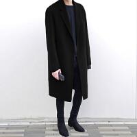 冬季韩版双面羊绒呢子大衣男中长款毛呢外套落肩呢大衣风衣男装 浅灰色(加棉) S