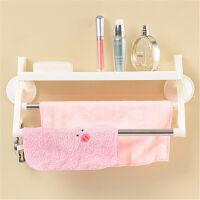 厨房卫浴两用强力无痕壁挂式吸盘置物架毛巾挂杆-(双杆)
