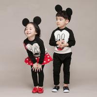 韩版童装春新男女童纯棉卡通套兄妹姐弟套装米奇班服校服