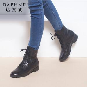 达芙妮女靴秋冬季时尚欧美女鞋中跟系带英伦马丁靴真皮靴子女短靴