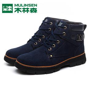 木林森男鞋冬季潮鞋防水加绒马丁靴棉鞋雪地靴高帮鞋韩版男士鞋子