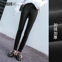休闲裤子女学生韩版百搭2017秋冬装季新款黑色加绒加厚打底外穿潮
