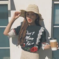 夏季新品女装chi学院风蕾丝拼接立体玫瑰字母印花短袖百搭T恤学生