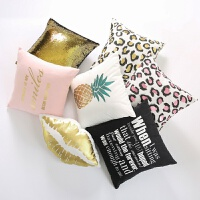MOM北欧ins抱枕 简约靠枕 粉色时尚金沙发靠垫套