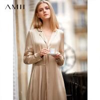Amii极简欧美风名媛复古连衣裙冬新款翻领拼腰带珍珠扣衬衫裙