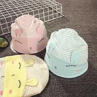 婴儿帽子6-个月春秋男女宝宝套头帽新生儿冬天睡眠帽胎帽韩版潮