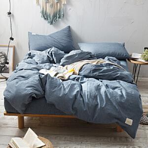 【领券立减100】四件套全棉纯棉1.5米1.8m米床上用品床单被套简约被罩欧式欧美风水洗棉宿舍单人1.2米纯色三件套