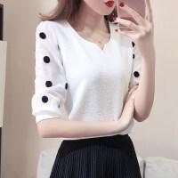 蕾丝雪纺衫2018春装新款显瘦百搭宽松短袖T恤夏季小清新上衣女 仙 白色