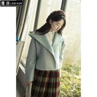 秋冬装宽松连帽短款毛呢外套女小香风学生韩版双面呢子大衣百搭潮