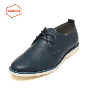 达芙妮旗下SHOEBOX/鞋柜正品春款时尚时尚低跟男鞋圆头商务休闲鞋
