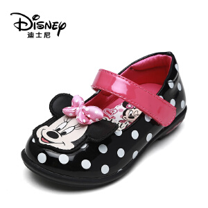 鞋柜/迪士尼秋季甜美魔术贴女童鞋卡通蝴蝶结公主鞋1