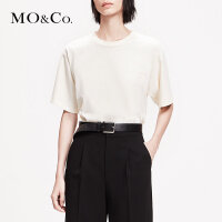 MOCO2019春季新品纯棉圆领宽松百搭短袖T恤女MAI1TEE013 摩安珂