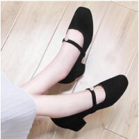 古奇天伦新款春季单鞋小清新高跟鞋粗跟浅口少女鞋秋冬季CDE8882