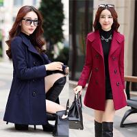 毛呢外套中长款呢子大衣女2017新款秋冬季韩版修身中年女士妈妈装