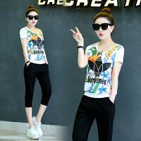 运动服套装女夏新款韩版潮短袖七分裤大码宽松休闲两件套 XXXL 此款偏小一码
