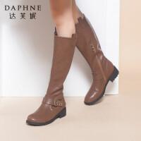 Daphne/达芙妮Hello Kitty女靴 冬韩版蝴蝶结平底女长靴高筒靴