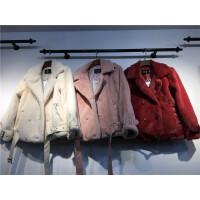 O5外套女装宽松学生韩版百搭 显瘦西装领麂皮毛绒长袖棉衣上衣1.2