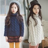 女童高领毛衣加厚保暖冬季中大童麻花针织打底衫女孩儿童套头上衣