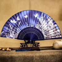扇子折扇中国风古风女日式小复古布夏季和风跳舞舞蹈折叠古典古装