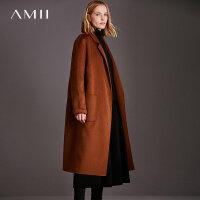 Amii[极简主义]轻奢优雅 87.6%羊毛12.4%羊绒双面呢大衣毛呢外套