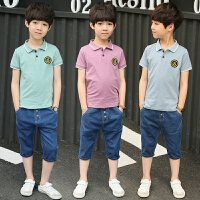 两件套8牛仔10短裤岁潮 童装男童夏装休闲套装儿童6夏季男孩POLO衫