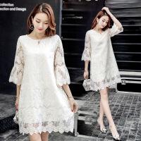 绣花圆领甜美年春季连衣裙时尚百搭纯色 米白