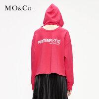 MOCO红色短款连帽卫衣春装2019款女装新款潮insMAI1SWS019摩安珂
