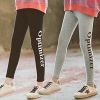 女童裤子中大童运动儿童打底裤黑色小脚薄款