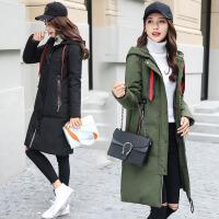 连帽棉衣女冬装新款韩版时尚飘带加厚保暖中长款潮外套 B1279黑色