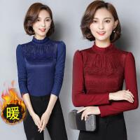 2017秋冬款 韩版女装修身立领长袖烫钻加绒加厚大码蕾丝打底衫女