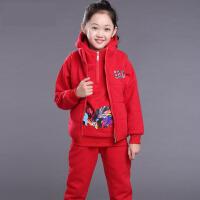 2017新款中大童女装卫衣三件套儿童棉绒10厚款12岁女童秋冬装套装