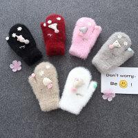 儿童手套冬季绒厚款甜美可爱小学生韩版日系保暖手套女孩