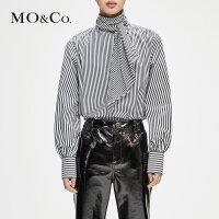 MOCO冬季新品条纹绑带高领衬衫MA184TOP102 摩安珂