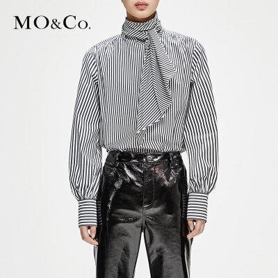 MOCO冬季新品条纹绑带高领衬衫MA184TOP102 摩安珂 满399包邮 浪漫绑带 率性条纹