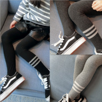 女童连裤袜2018春装新款中小童打底裤韩版裤袜时尚弹力条纹连袜裤