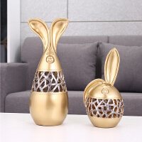 风格装饰兔子摆件家居饰品 酒柜玄关乔迁新居礼品新婚礼物 情侣兔 一对