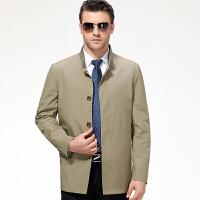 中年男夹克衫秋装中老年立领茄克春秋薄款扣子夹克爸爸装男外套