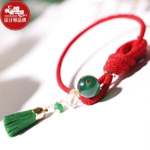 凤凰涅磐 绿玛瑙红绳手链流苏平安结手工编织学生简约民族风情侣