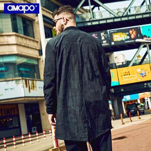 【限时抢购到手价:180元】AMAPO潮牌大码男装胖子加肥加大码宽松嘻哈中长款大衣肥佬外套男