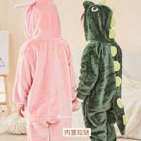 恐龙睡衣儿童连体珊瑚绒宝宝秋冬男童女童加厚可爱卡通动物家居服