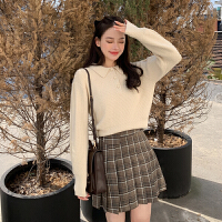 【直降】唐狮年春装新款毛衣针织衫女POLO领宽松外穿网红套头韩版黑色
