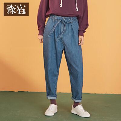 99】森宿直筒裤子春装2018新款文艺系带水洗宽松牛仔裤女