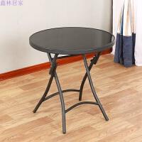 户外休闲折叠桌 时尚办公恰谈接待咖啡桌 钢化玻璃桌子小圆桌