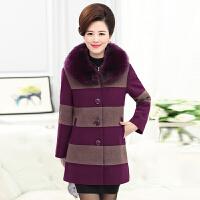 中年妈妈毛呢大衣女40-50岁棉衣中老年女装秋冬装中长款毛呢外套