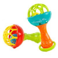 婴儿软胶牙胶摇铃棒带婴儿宝宝玩具0-6-12个月床铃婴儿新生儿床铃 软胶单头哑铃一个【颜色随机】